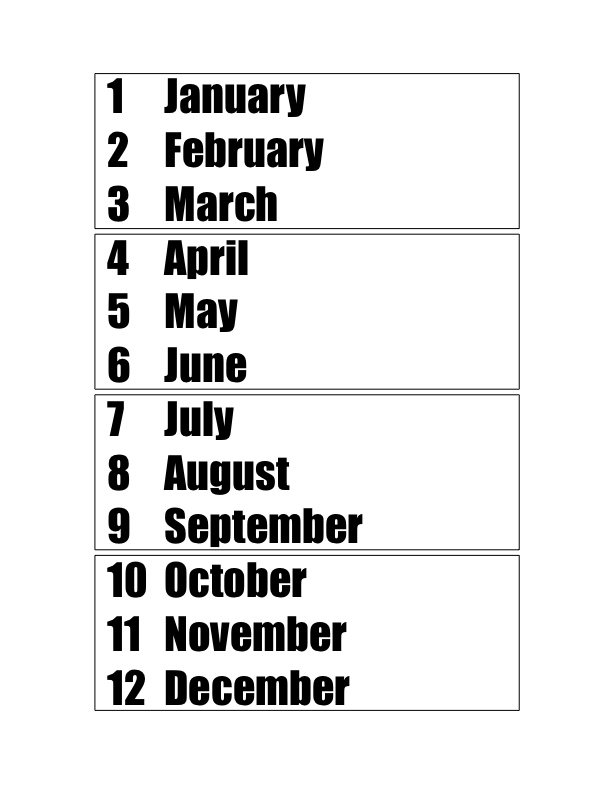 Teaching the months of the year (and their numbers!)