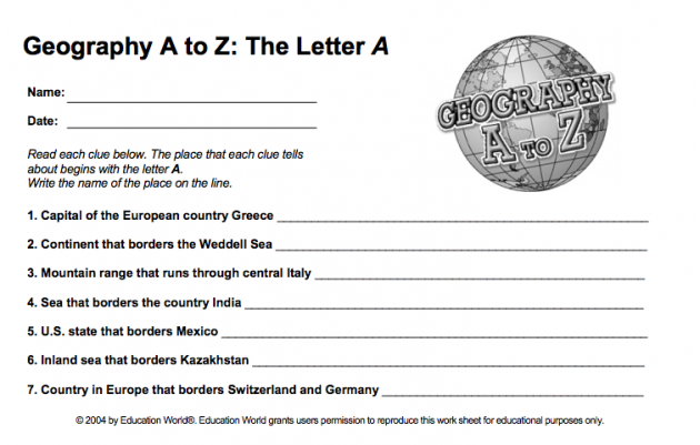 Geography A to Z — Free Printable Worksheets - Five J's ...