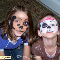 Face painted dogs