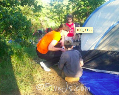 Setting up tent