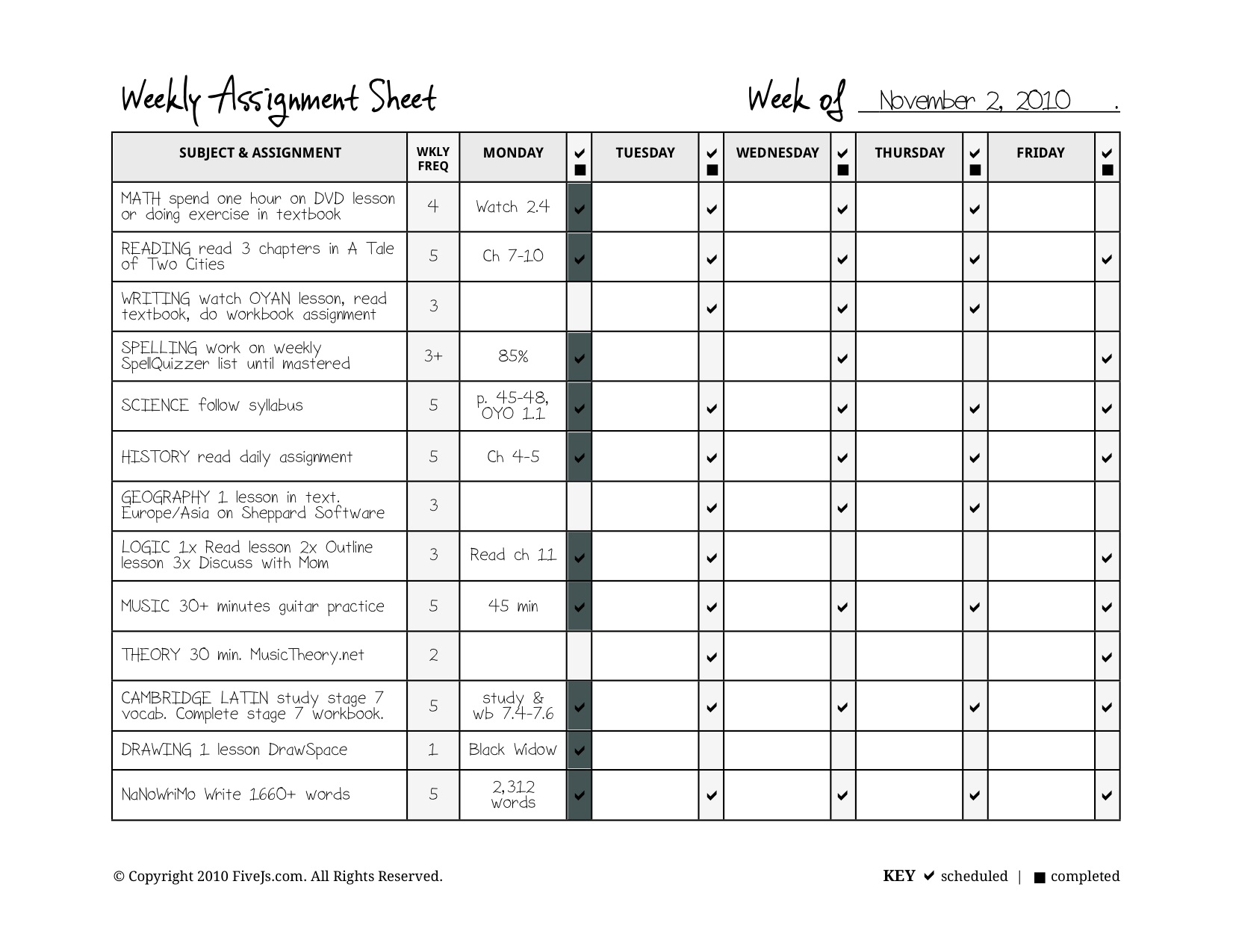 homeschool weekly assignment planner as