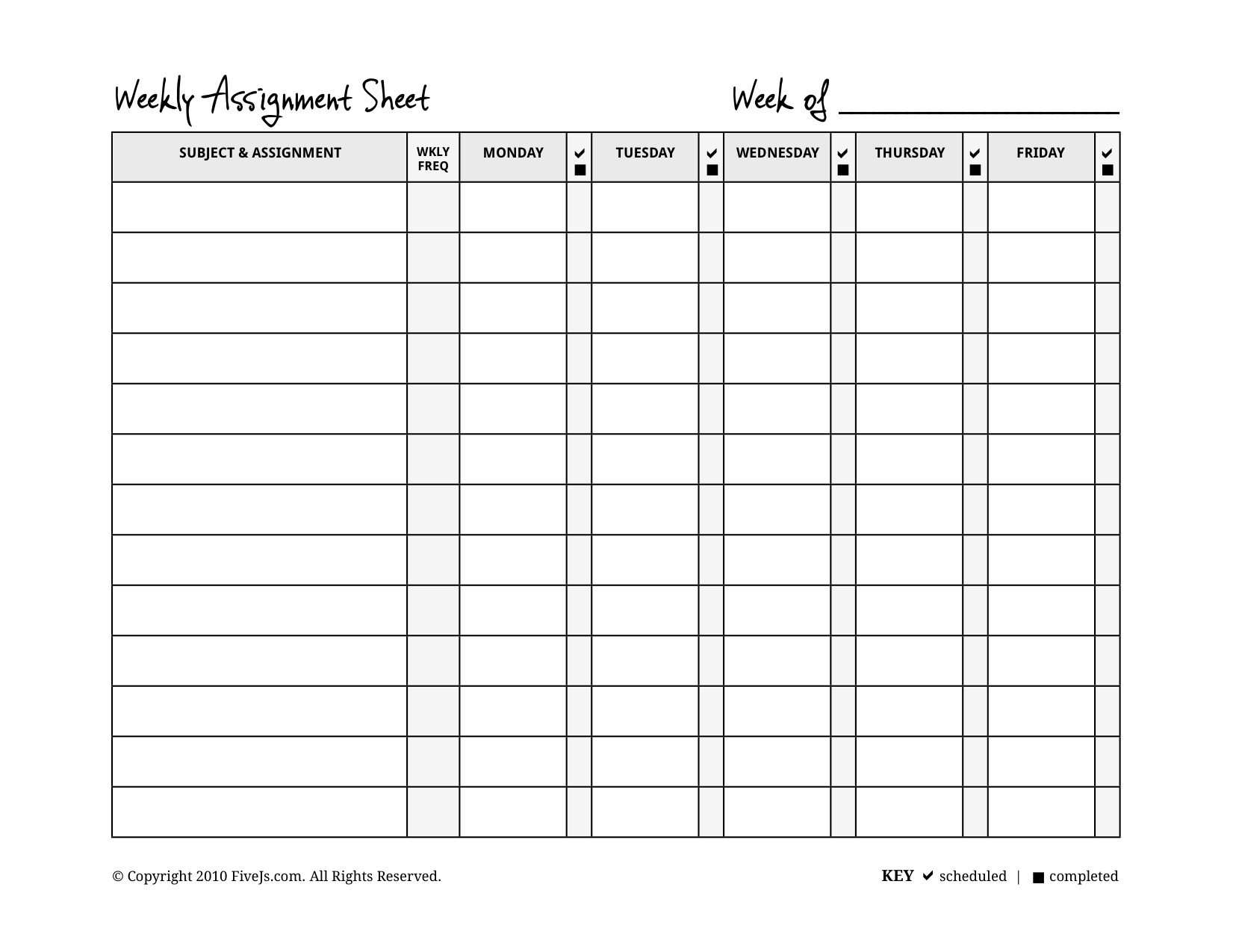 Homeschool weekly assignment planner for Homeschool checklist template