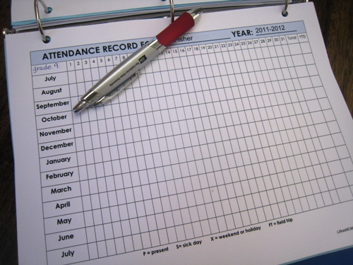 keep an attendance sheet for each child in my notebook and keep ...