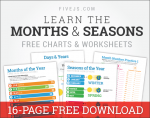 Free Printable Worksheet Set! Learn the Months, their Numbers, Seasons, Leap Year, and more!