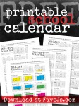 Free Printable School Calendar from FiveJs.com. #homeschool