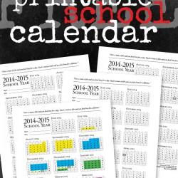 Free Printable School Calendar from FiveJs.com. #homeschool