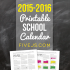 Free Printable School Calendar for 2015-2016
