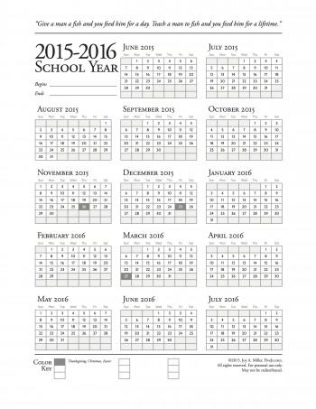 Printable school year calendar, 2015-2016