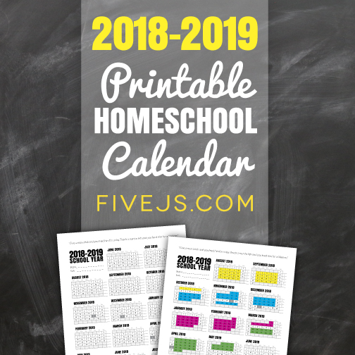 Free Printable School Calendar For 2018 2019 Five J S Homeschool