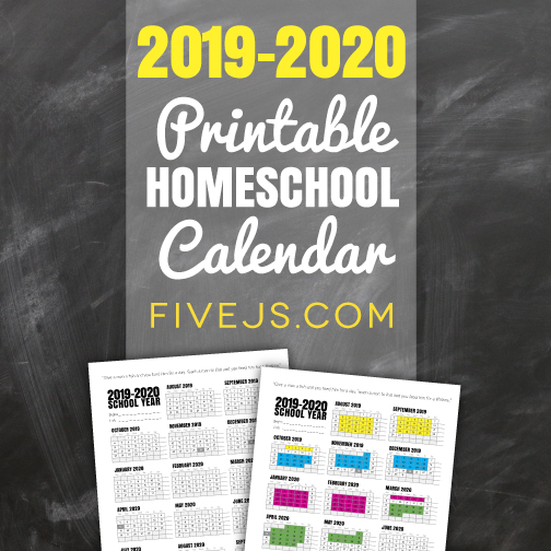 photo regarding Homeschool Calendar Printable named Free of charge Printable College or university Calendar for 2019-2020 - 5 Js